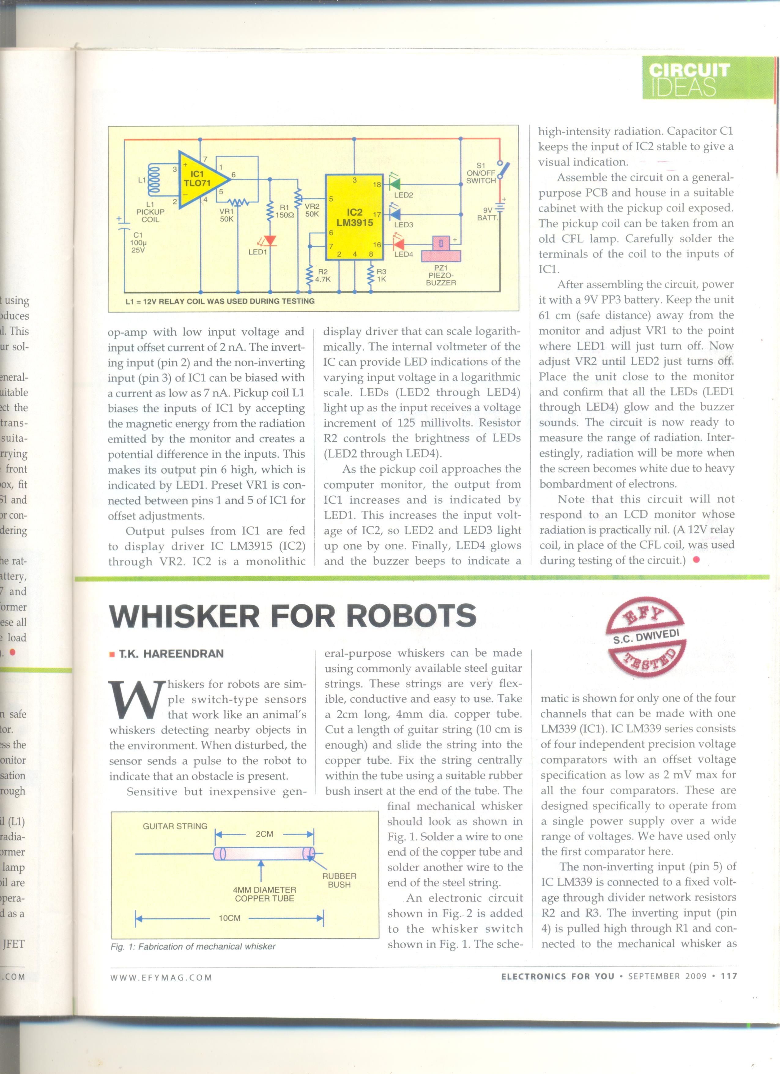 Radiation Sensor Circuit Mohans Electronics Blog Clap Switch Mini Project Advertisements