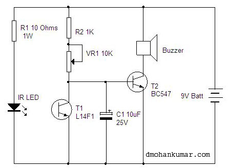 IR Beam Alarm  Sensor Circuit 2 – Mohan's electronics blog