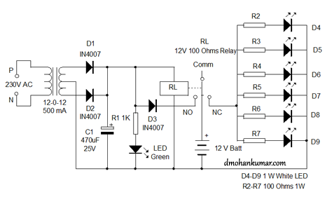 emergency light circuit diagram out transformer emergency relay controlled emergency lamp beginner s trial 11 electronics on emergency light circuit diagram out transformer