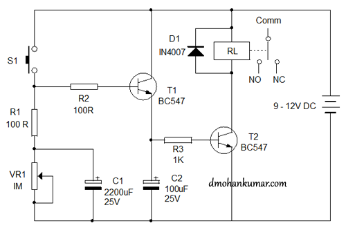 Timer Relay Design Trick 16 Electronics Hobby - Relay Circuit With Transistor