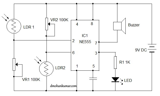 Flip-Flop control using LDR. Sensor Circuit 10 | Mohan\'s electronics ...