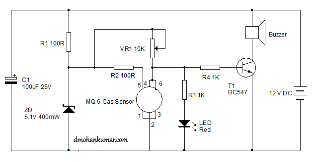 gas leakage alarm using mq  sensor. sensor circuit., wiring diagram