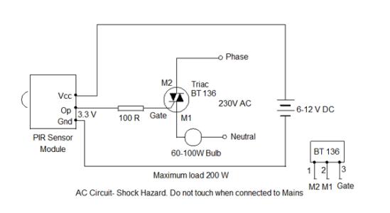 PIR-Sensor-Alarm-Triac-oper