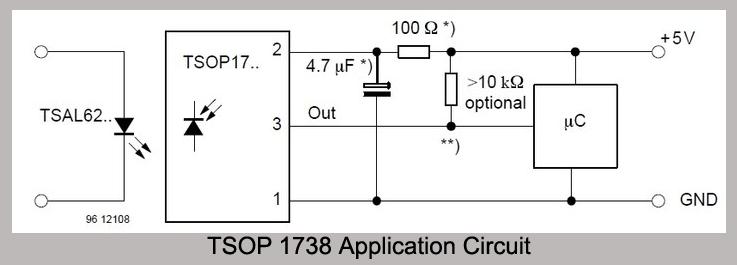 how to make tsop 1738 circuits design note 4 \u2013 mohan\u0027s electronicstsop 1738 application circu