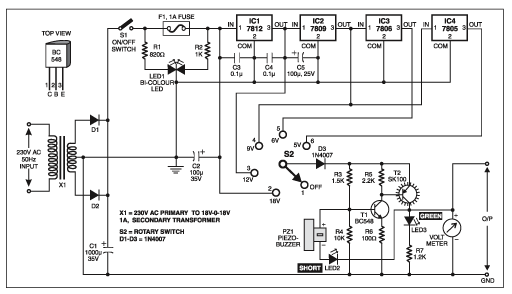 STABILIZED POWER SUPPLY WITH SHORT CIRCUIT INDICATOR