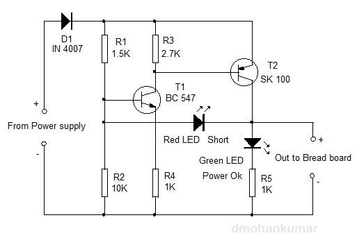 short circuit indicator for bread board design note 38 mohan s rh dmohankumar wordpress com Circuit Projects Circuit City