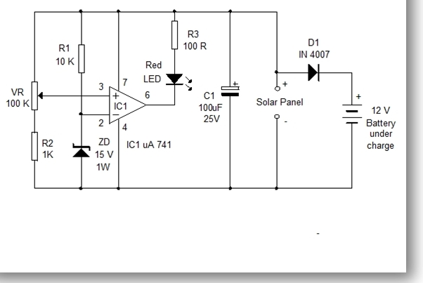 Solar Panel Voltage Monitor Circuit