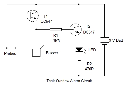 Tank Overflow Alarm Circuit