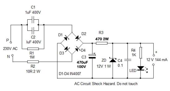 high current transformerless power supply home utility circuit 24 rh dmohankumar wordpress com 5v transformerless power supply circuit diagram transformerless power supply 12v 500ma circuit diagram