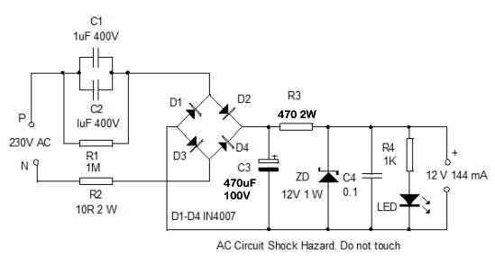 High Current Transformerless Power Supply Home Utility Circuit 24