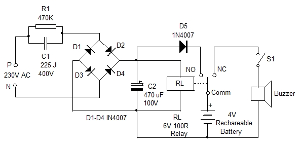 Power Failure Alarm Circuit