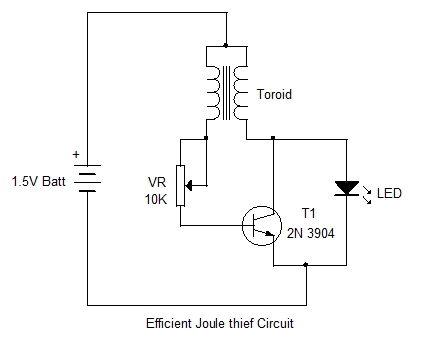 EFFICIENT JOULE THIEF CIRCUIT
