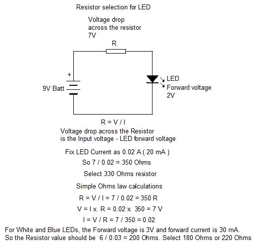 RESISTOR SELECTION FOR LED