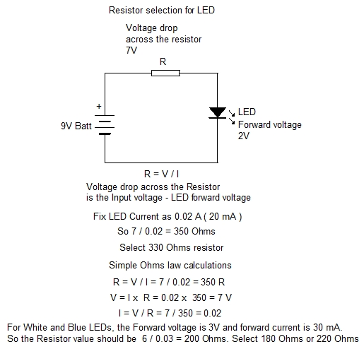 RESISTOR SELECTION FOR LED