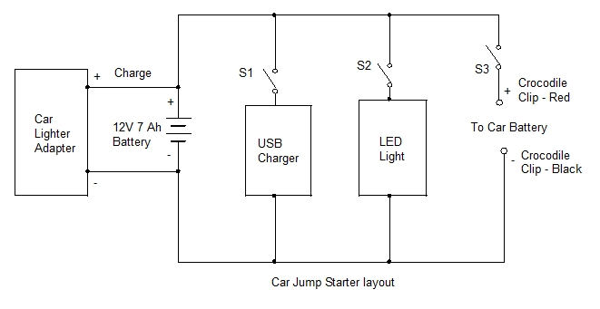 car jumper starter layout car jump starter start up project 31 electronics hobby Remote Start Wiring Diagrams at bayanpartner.co