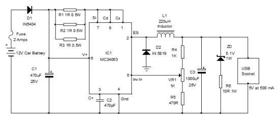 CAR USB CHARGER CIRCUIT