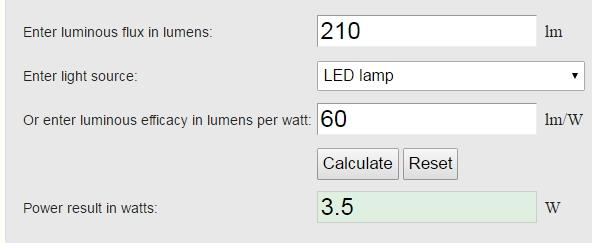 Lumen to Watts Calculator