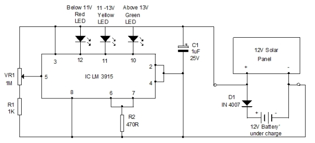 Solar Voltage Monitor Circuit