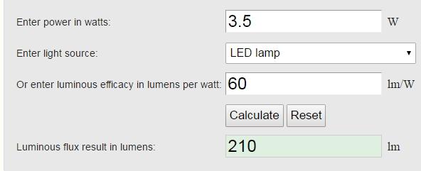 Watts to Lumen calculator