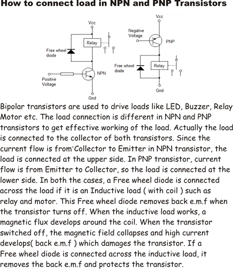 How to connect Relay with NPN and PNP transistors   electronics hobby